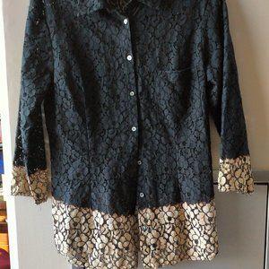 Velvet by graham spencer black lace look w/beige M